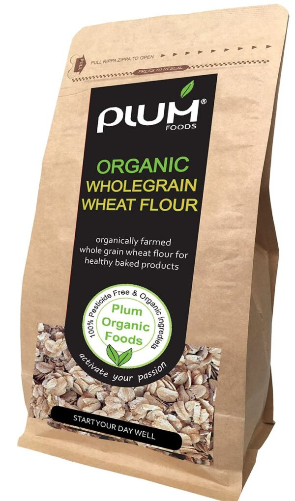 Organic Wholegrain Wheat Flour 1kg - Plum Organic Foods